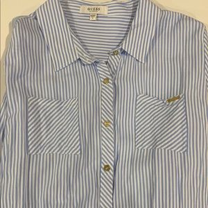 Guess blue stripe long sleeve button down shirt